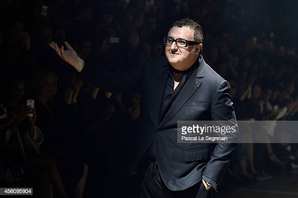 Fashion designer Alber Elbaz acknowledges the applause of the public after the Lanvin show as part of the Paris Fashion Week Womenswear Spring/Summer...