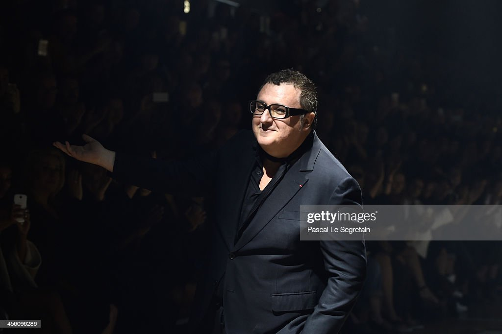 Fashion designer Alber Elbaz acknowledges the applause of the public after the Lanvin show as part of the Paris Fashion Week Womenswear Spring/Summer 2015 on September 25, 2014 in Paris, France.