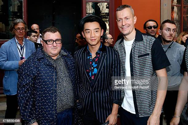Fashion Designer Alber Elbaz, Actor Zhang Kai and Lanvin men fashion designer Lucas Ossendrijver pose after the Lanvin Menswear Spring/Summer 2016...