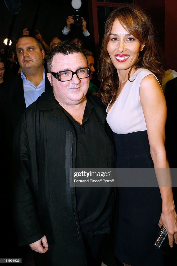 Fashion Designer Alber Elbaz and Dolores Chaplin after Lanvin show as part of the Paris Fashion Week Womenswear Spring/Summer 2014, held at 'Ecole des beaux Arts on September 26, 2013 in Paris, France.