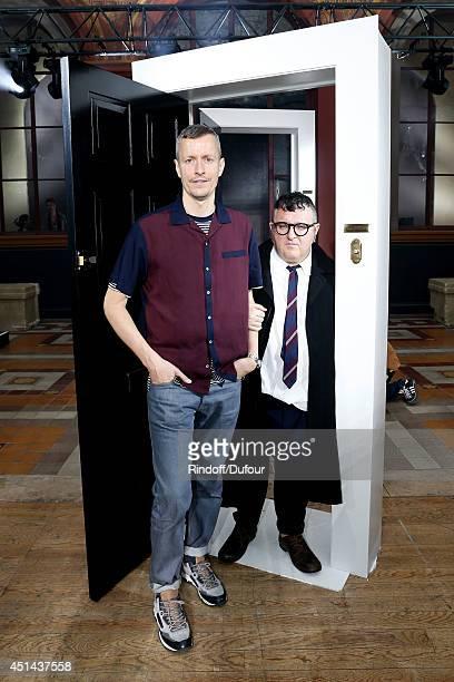 Fashion designer Alber Elbaz and Lanvin men fashion designer Lucas Ossendrijver attend the Lanvin show as part of the Paris Fashion Week Menswear...