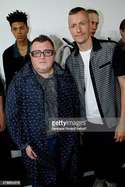 Fashion Designer Alber Elbaz and Lanvin men fashion designer Lucas Ossendrijver pose Backstage prior the Lanvin Menswear Spring/Summer 2016 show as...