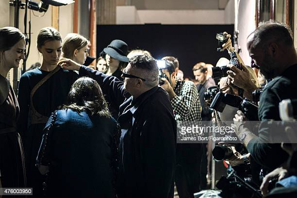 Fashion designer Alber Elbaz is photographed for Madame Figaro backstage at Lanvin's Autumn/Winter 2015- 2016 prêt-à-porter show on March 5, 2015 in...