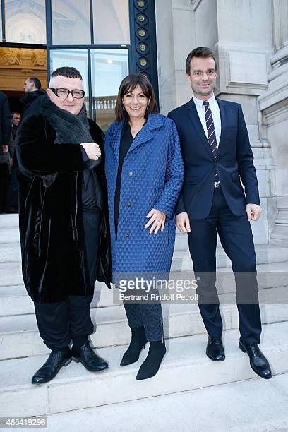 Fashion Designer Alber Elbaz, Mayor of Paris Anne Hidalgo and First Deputy Mayor of Paris, responsible for culture Bruno Julliard attend the Jeanne...