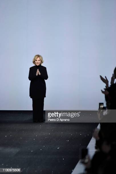 Fashion designer Alberta Ferretti acknowledges the applause of the audience at the Alberta Ferretti show at Milan Fashion Week Autumn/Winter 2019/20...