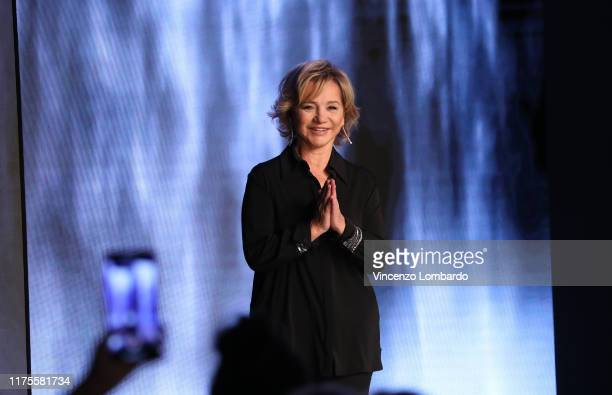 Fashion designer Alberta Ferretti acknowledges the applause of the audience at the Alberta Ferretti show during the Milan Fashion Week Spring/Summer...