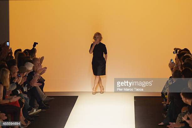 Fashion designer Alberta Ferretti acknowledges the applause of the audience after the Alberta Ferretti show as part of Milan Fashion Week Womenswear...