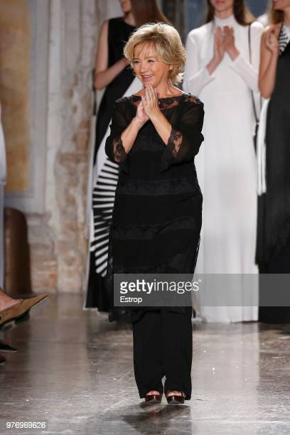 Fashion designer Alberta Ferretti at the Alberta Ferretti show during Milan Men's Fashion Week Spring/Summer 2019 on June 15 2018 in Milan Italy