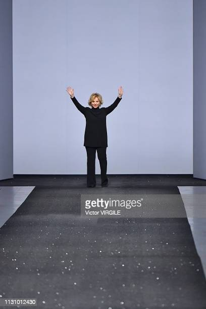 Fashion designer Alberta Ferretti walks the runway at the Alberta Ferretti Ready to Wear Fall/Winter 20192020 fashion show during Milan Fashion Week...