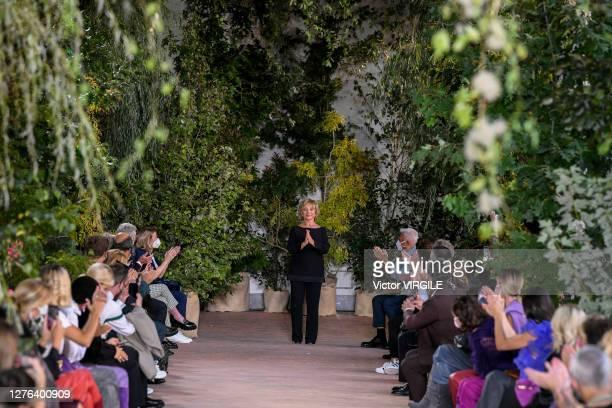 Fashion designer Alberta Ferretti walks the runway at the Alberta Ferretti Ready to Wear Spring/Summer 2021 fashion show during the Milan Women's...