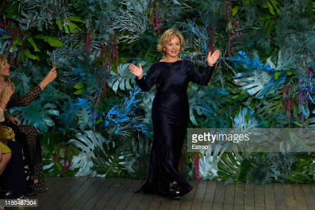 Fashion designer Alberta Ferretti walks the runway during the Alberta Ferretti Cruise 2020 Collection At Monaco Yatch Club on May 18 2019 in...