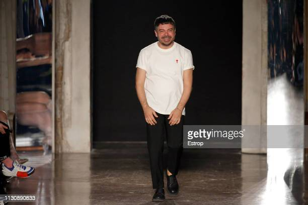 Fashion designer Alberto Zambelli at the Alberto Zambelli show at Milan Fashion Week Autumn/Winter 2019/20 on February 20 2019 in Milan Italy