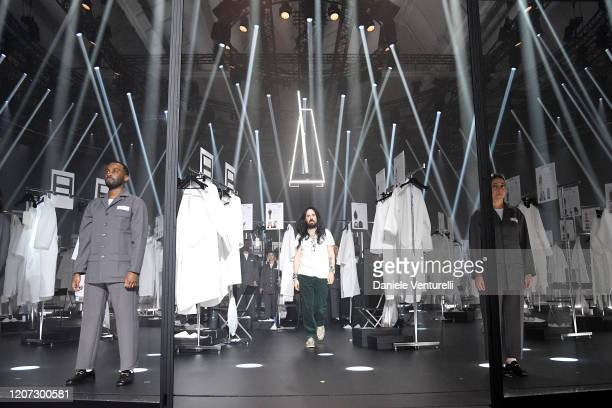 Fashion Designer Alessandro Michele acknowledges the appause of the audience during the Gucci Fall/Winter 2020/21 fashion show during Milan Fashion...