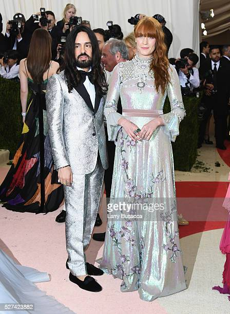 Fashion designer Alessandro Michele and singer Florence Welch attend the 'Manus x Machina Fashion In An Age Of Technology' Costume Institute Gala at...