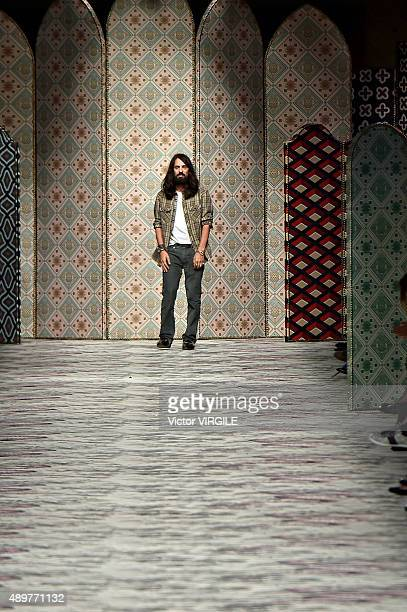 Fashion designer Alessandro Michele walks the runway during the Gucci Ready to Wear fashion show as part of Milan Fashion Week Spring/Summer 2016 on...