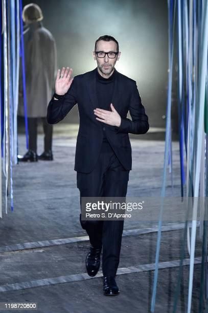 Fashion designer Alessandro Sartori walks the runway at the end of Ermenegildo Zegna fashion show on January 10, 2020 in Milan, Italy.