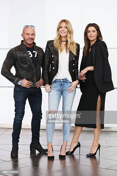 Fashion designer Alex Perry Jennifer Hawkins and Cheyenne Tozzi pose at Australia's Next Top Model Season 10 auditions at The Deakin Edge on...