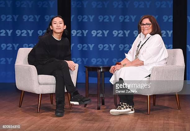 Fashion Designer Alexander Wang and Fern Mallis pose during the Fashion Icons With Fern Mallis Alexander Wang at 92nd Street Y on November 3 2016 in...