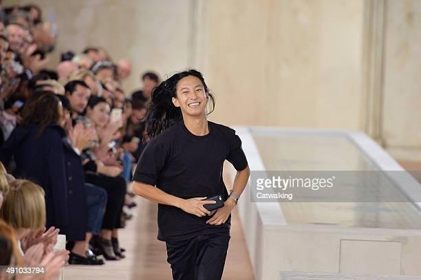 Fashion designer Alexander Wang walks the runway at the Balenciaga Spring Summer 2016 fashion show during Paris Fashion Week on October 2 2015 in...