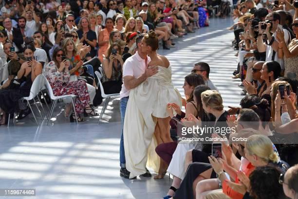 Fashion designer Alexandre Vauthier and Celine Dion during the Alexandre Vauthier Haute Couture Fall/Winter 2019 2020 show as part of Paris Fashion...