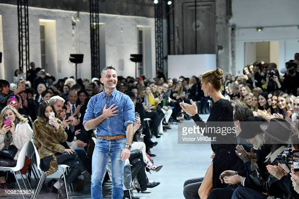Fashion designer Alexandre Vauthier and singer Celine Dion during the Alexandre Vauthier Haute Couture Spring Summer 2019 fashion show as part of...