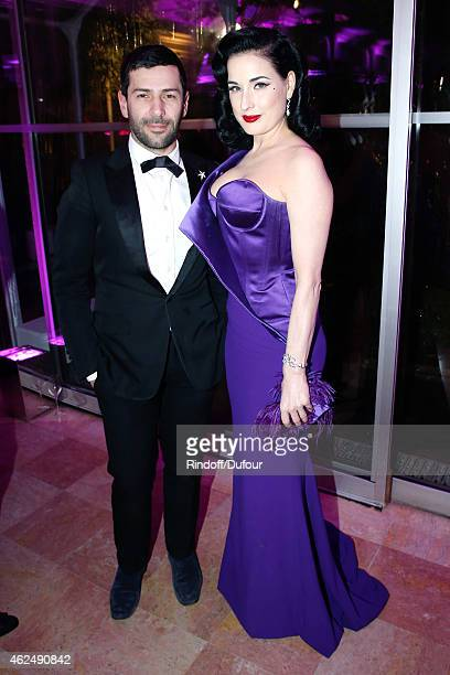 Fashion Designer Alexis Mabille and Dita Von Teese attend the Sidaction Gala Dinner 2015 at Pavillon d'Armenonville on January 29, 2015 in Paris,...