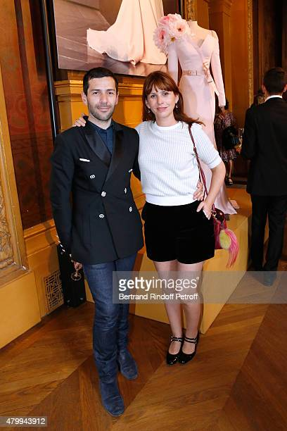 Fashion Designer Alexis Mabille and DJ Cecile Togni attend the Presentation of the Alexis Mabille Haute Couture Fall/Winter 2015/2016 collection as...