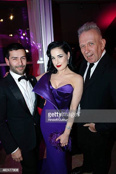 Fashion Designer Alexis Mabille, Dita Von Teese and Fashion Designer Jean-Paul Gaultier attend the Sidaction Gala Dinner 2015 at Pavillon...