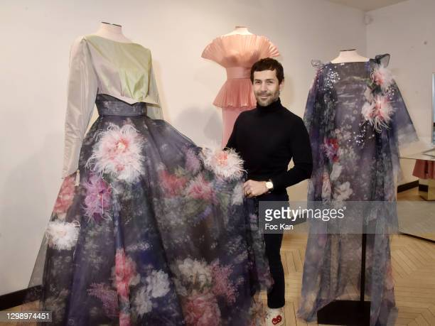 Fashion designer Alexis Mabille poses with his work during Alexis Mabille: 2nd Day of Presentation - Haute Couture Spring/Summer 2021 Collection -...