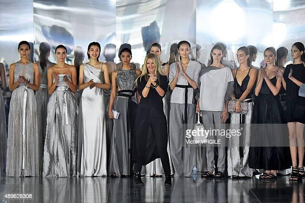 Fashion designer Amanda Wakely walks the runway at the Amanda Wakeley Ready to Wear show during London Fashion Week Spring/Summer 2016/17 on...