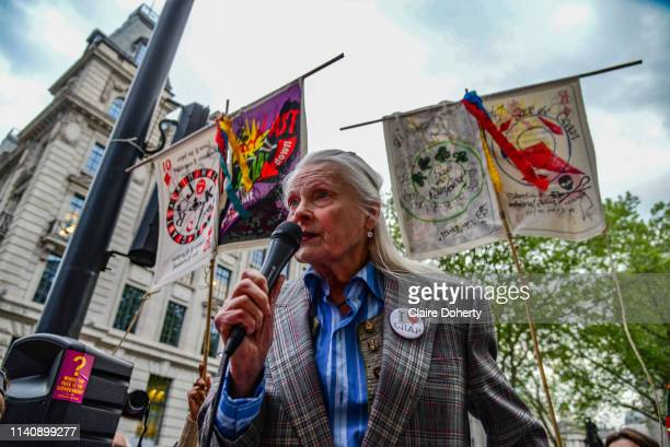 Fashion designer and activist Dame Vivienne Westwood speaks at Extinction Rebellions Carnevil of Chaos Fashion Parade at the Brazilian Embassy on 1st...
