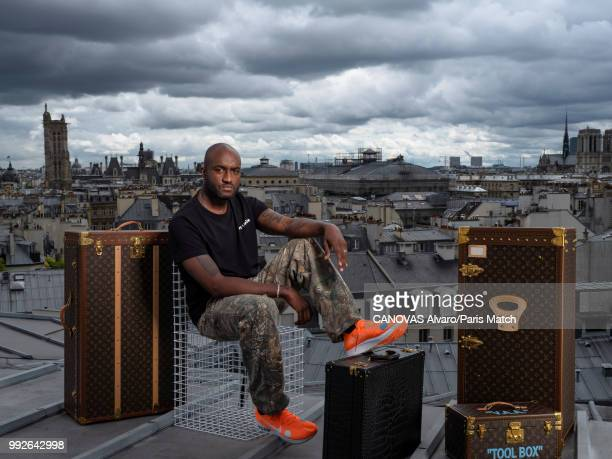 Fashion designer and artistic director of Louis Vuitton's men's wear collection, Virgil Abloh is photographed for Paris Match on June 18, 2018 in...