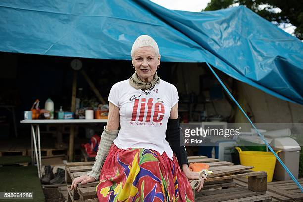 Fashion designer and campaigner Vivienne Westwood is photographed at the site of a demonstration against fracking for shale gas June 14 2014 in Upton...
