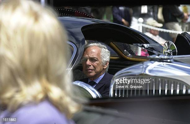 Fashion designer and car aficionado Ralph Lauren sits in his 1938 Bugatti Type 57SC Atlantic vintage automobile, winner best of show in 1990 at the...