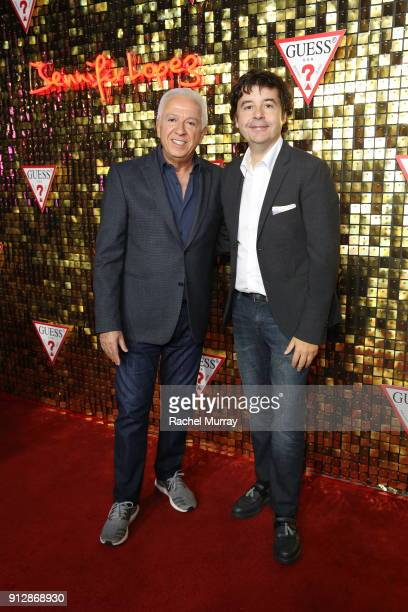 Fashion designer and cofounder of Guess Inc Paul Marciano and Victor Herrero at the Guess Spring 2018 Campaign Reveal starring Jennifer Lopez on...