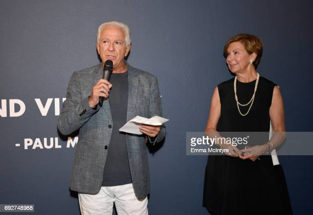 Fashion designer and cofounder of Guess Inc Paul Marciano and VP of Education at FIDM Barbara Bundy at GUESS Celebrates 35 Years with Opening of...