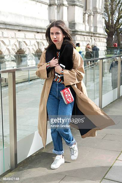 Fashion designer and consultant Natatsha Goldenberg wears an Anya Hindmarch bag and vintage jeans on February 24 2015 in London England