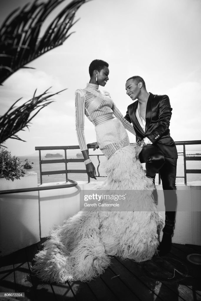 Fashion designer and creative director of Balmain, Olivier Rousteing with model Maria Borges are photographed in Cannes France, on May 24, 2017.