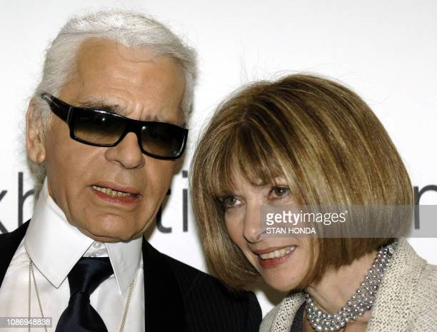 """Fashion designer and creative director of Chanel Karl Lagerfeld and Vogue magazine editor Anna Wintour are shown at a press preview of """"Chanel"""", an..."""
