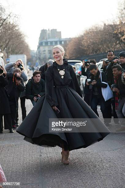 Fashion designer and fashion blogger Ulyana Sergeenko wears all Dior on day 2 of Paris Haute Couture Fashion Week Spring/Summer 2016 on January 25...