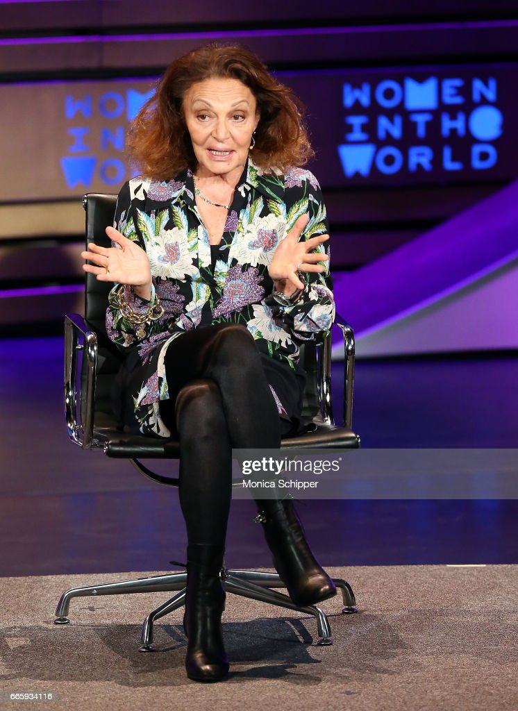 Fashion designer and founder and co-chairman at DVF Studio, Diane von Furstenberg, speaks on stage at the 8th Annual Women In The World Summit at Lincoln Center for the Performing Arts on April 7, 2017 in New York City.