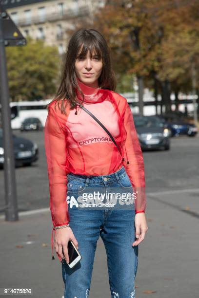 Fashion designer and founder of fashion label Anna K Anna Karenina wears an Anna K blouse and jeans day 5 of Paris Womens Fashion Week Spring/Summer...