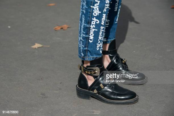 Fashion designer and founder of fashion label Anna K Anna Karenina wears Anna K jeans and Balenciaga shoes day 5 of Paris Womens Fashion Week...