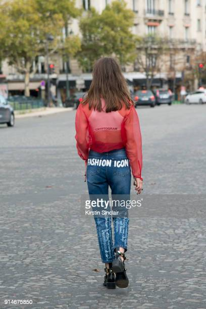 Fashion designer and founder of fashion label Anna K Anna Karenina wears an Anna K blouse and jeans and Balenciaga shoes day 5 of Paris Womens...