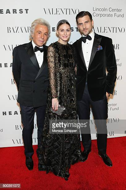 Fashion designer and honorary president of the Valentino Fashion House Giancarlo Giammetti Olivia Palermo and Johannes Huebl attend An Evening...