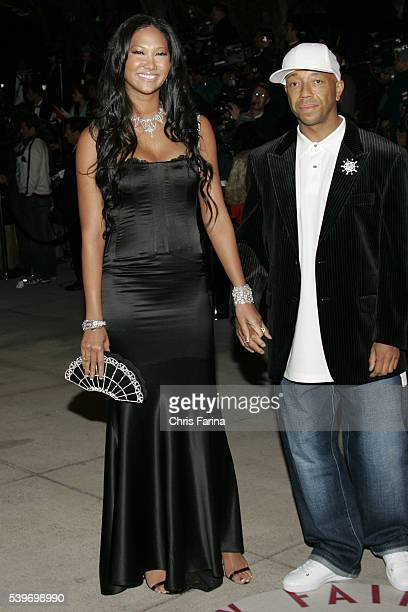 Fashion designer and model Kimora Lee and husband music producer Russell Simmons arrive at the Vanity Fair Academy Awards® party at Mortons restaurant