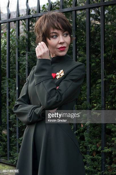 Fashion designer and photographer Ulyana Sergeenko wears her own design dress day 1 of Paris Haute Couture Fashion Week Spring/Summer 2014 on January...