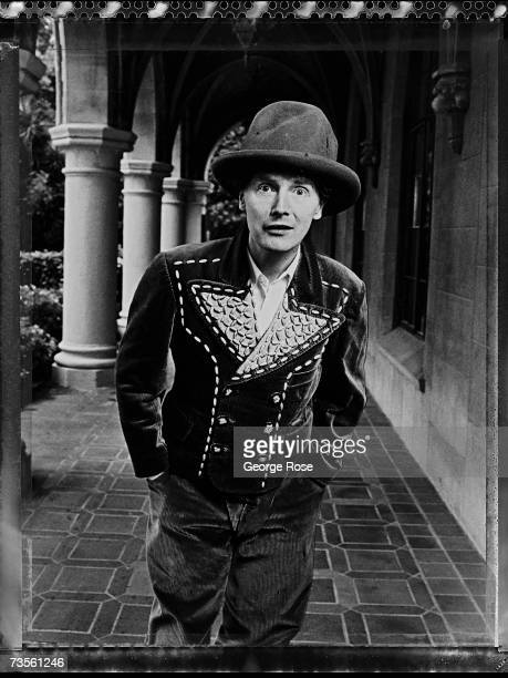 Fashion designer and Sex Pistols manager Malcolm McLaren poses during a 1982 West Hollywood California photo portrait session at the Chateau Marmont