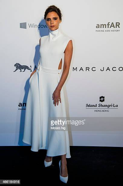 Fashion Designer and Singer Victoria Beckham arrives on the red carpet during the 2015 amfAR Hong Kong gala at Shaw Studios on March 14, 2015 in Hong...