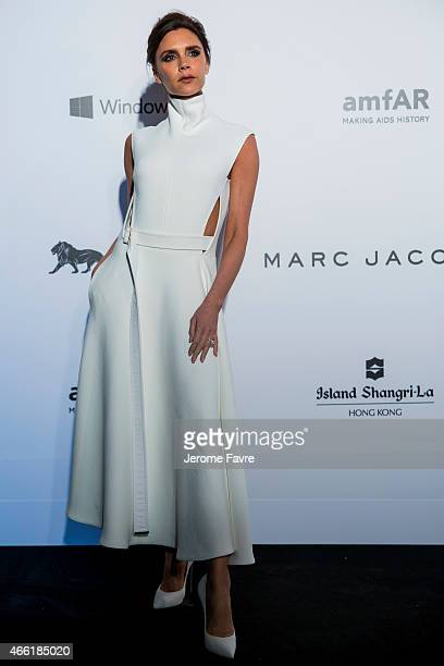Fashion Designer and Singer Victoria Beckham arrives on the red carpet during the 2015 amfAR Hong Kong gala at Shaw Studios on March 14 2015 in Hong...